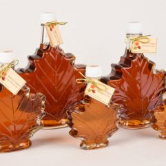 maple syrup in decorative leaf shaped bottles