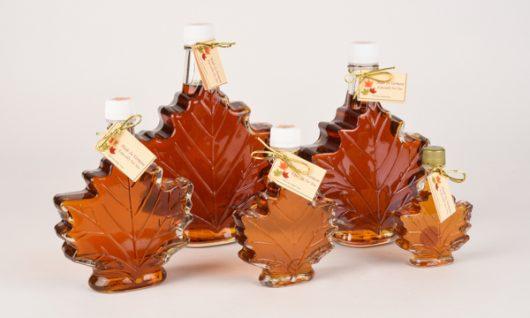 maple syrup in decorative leaf shaped bottles
