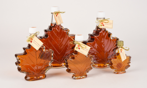 Maple Syrup In Glass Leaf Bottle Robb Family Farm