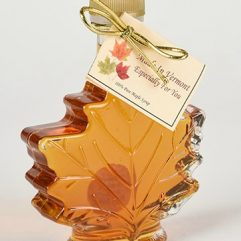 vermont maple syrup in a clear leaf bottle