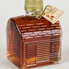 vermont maple syrup in a log cabin bottle