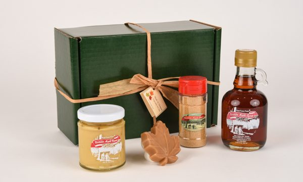 sampler box contains maple spread, maple sugar, maple candy and maple syrup