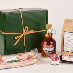 box contains vermont maple syrup, bacon, jam and pancake mix